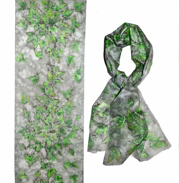 Handpainted silk scarf  Green Leaves silk painting by JankaLart