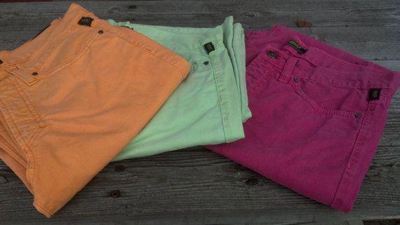 Versace Colored Jeans 1980s Madonna Orange Lime Fuchsia Size 6/8