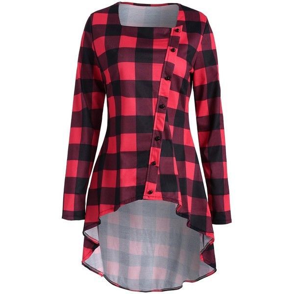 Red 2xl Plaid High Low Button Embellished T-shirt ($13) ❤ liked on Polyvore featuring tops, t-shirts, button tee, tartan top, button t shirt, decorating t shirts and red plaid top