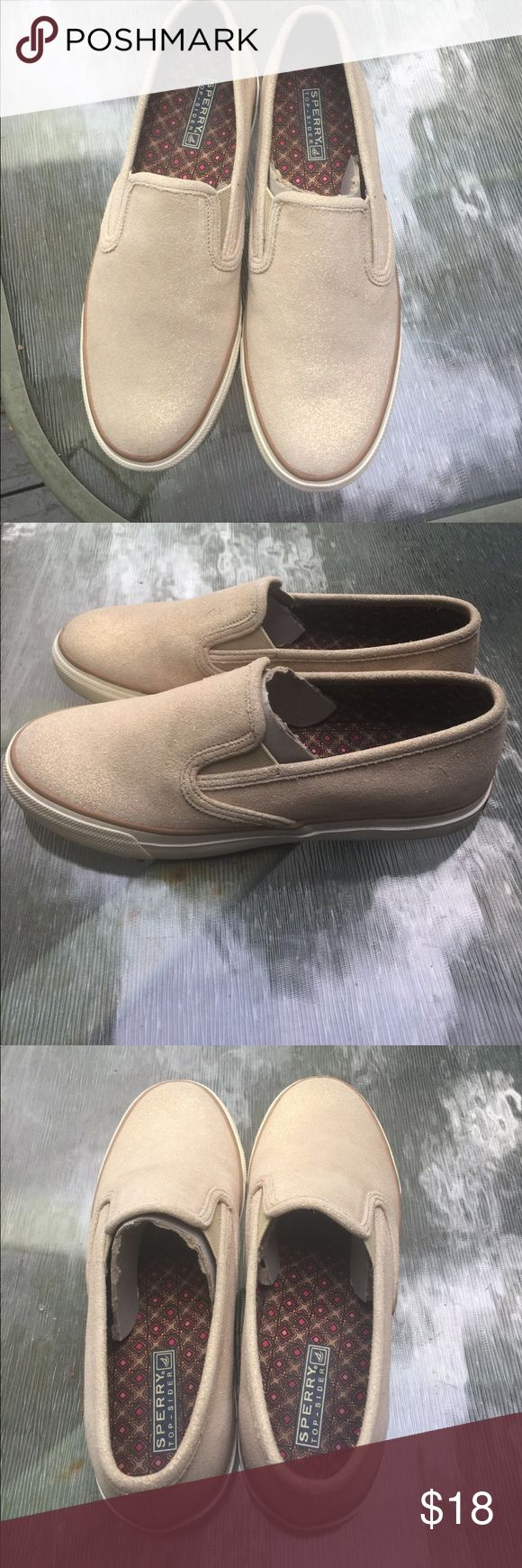 Sperry loafers, size 8.5. Gently worn! Soles show wear. Nude/cream color with sparkle. Size 8.5. Sperry Shoes Flats & Loafers