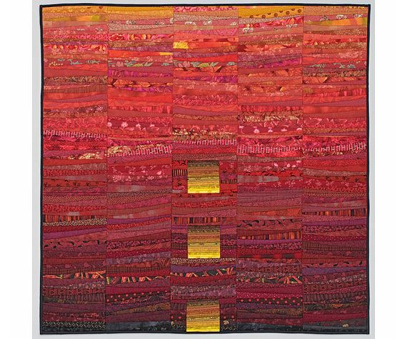 """Red art quilt. Square quilted wall hanging. Modern art quilt. 45x45"""" Red landscape. Abstract textile art. Color study. Modern home decor."""