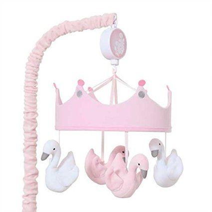 Lambs & Ivy Swan Lake Musical Mobile, Pink/White/Grey