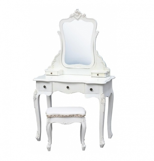 French Style Antique White Dressing Table, Mirror and Stool Set http://www.la-maison-chic.co.uk