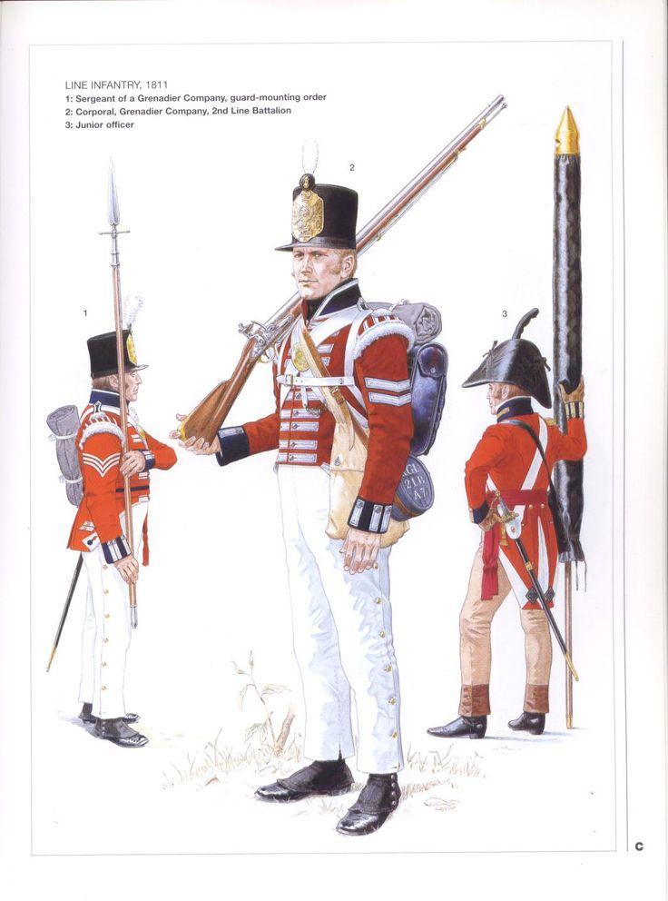 King's German Legion, Line Infantry, 1811.  Sergeant Grenadier, Corporal Grenadier and Junior Officer.