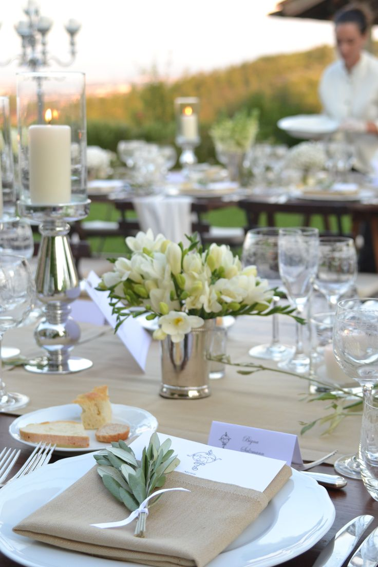 Country Style Wedding with wild flowers decoration - Beige runner with napkin to match, olive branch decoration and silver cutlery  #guidilenci All Rights Reserved GUIDI LENCI www.guidilenci.com