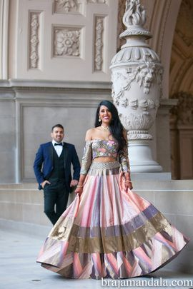 Engagement Lehenga - Ajay & Snigdha | WedMeGood | Pink, Purple and Bronze Paneled Lehenga with an Off Shoulder Blouse  Outfit by: Manish Malhotra #wedmegood #indianbride #indianwedding #lehenga #manishmalhotra #offshoulder #paneled #indianlehenga #bridal #engagementlehenga