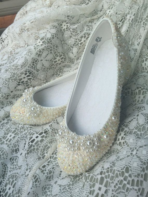 Elfina Bourique Boston Wedding Shoes Bridal Flats Rhinestones Pearls Hand…