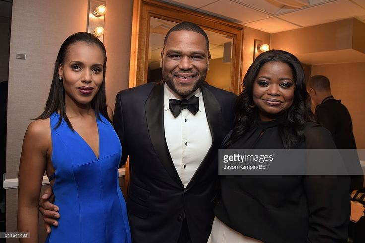 Actors Kerry Washington, Anthony Anderson and Octavia Spencer pose backstage at the 2016 ABFF Awards: A Celebration Of Hollywood at The Beverly Hilton Hotel on February 21, 2016 in Beverly Hills, California.