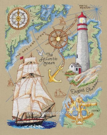 Lovely stitching work with a nautical theme. Wish I could do this things....