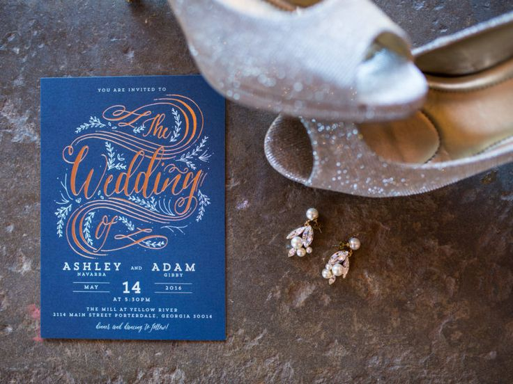 glitter wedding shoes and a stylist navy wedding invitation suite