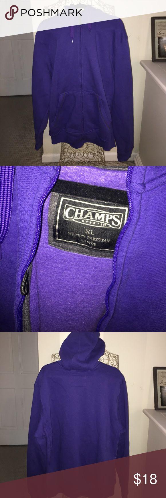 Men's Purple Zip Up Hoodie Champs Men's Purple Zip Up Hoodie, Fleece Lined, Spot for phone and headphones in the pocket. Size XL, worn once! Champs Sweaters Zip Up