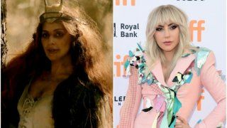 Lady Gaga as Scáthach  Appearing as Scáthach, the original supreme witch with an undeniable power over men, she had matted hair, an old crone exterior, and a desperate need for a trip to the dentist.