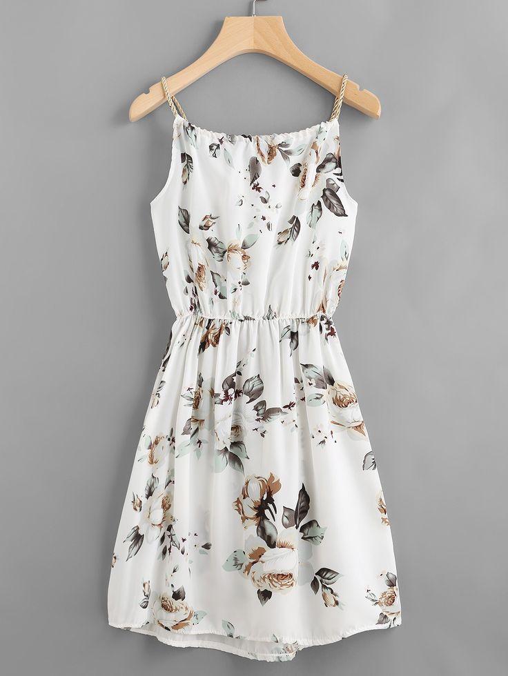 White Random Floral Print Drawstring Elastic Waist Dress