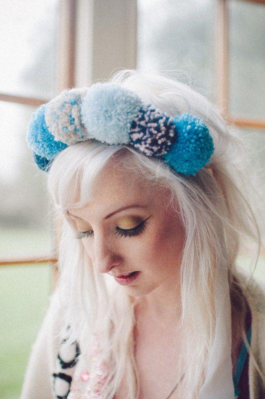 POM POM headband Handmade pompom headband. blues. by Fumbalinas, £30.00