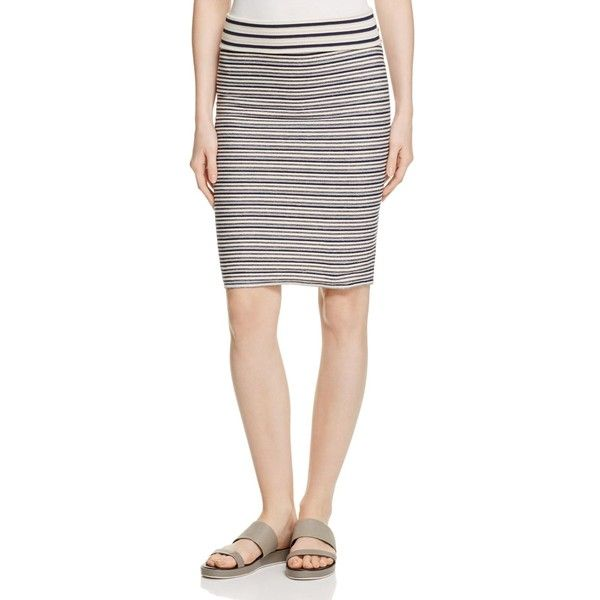 Three Dots French Terry Stripe Pencil Skirt ($80) ❤ liked on Polyvore featuring skirts, night iris, stretchy pencil skirt, three dots skirt, white skirt, striped skirt and striped pencil skirt