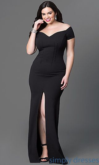 Shop long plus-size prom gowns and off-the-shoulder formal gowns at Simply Dresses. Plus-size dresses with front slits and sweetheart necklines.
