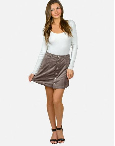 Mona Grey Suede Button Up Skirt