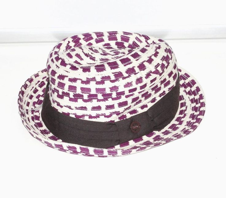 JUICY COUTURE~IVORY & PURPLE~BROWN TRIM **FEDORA FASHION HAT** WITH PLEATS #JuicyCouture #FedoraPleatedFASHIONCASUALHat #Casual