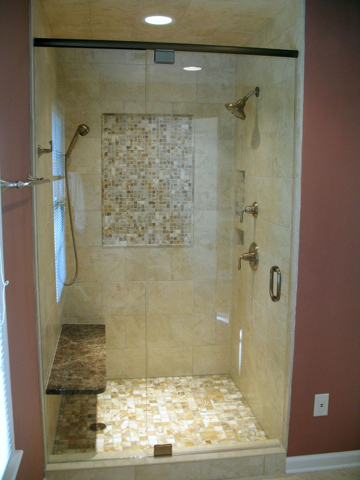 Bathroom, : Terrific Ideas For Bathroom And Shower Design Using Cream  Mosaic Tile Shower Wall Along With Recessed Light In Shower And Dual Shower  Ideas