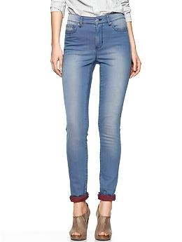 Gap high rise legging jeans with red inner - size 12. PM me for real life photos if interested. Lovely jeans that can be worn with or without showing the red inner.
