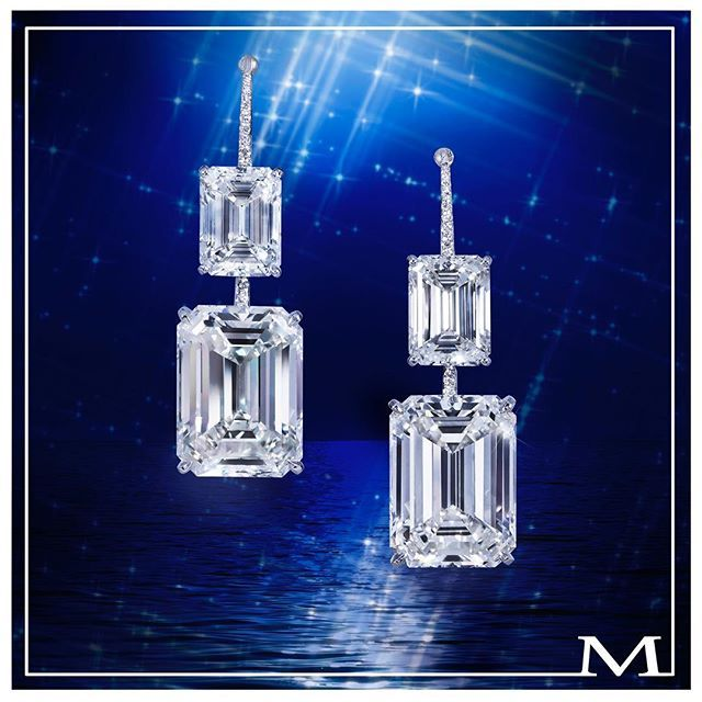 Moussaieff. Celestial beauties... Utterly exceptional emerald-cut diamond earrings with two 4+ carat and two 15+ carat diamonds. #moussaieff  #moussaieffjewellers