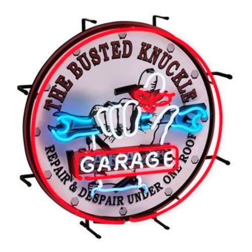 busted knuckle garage neon sign