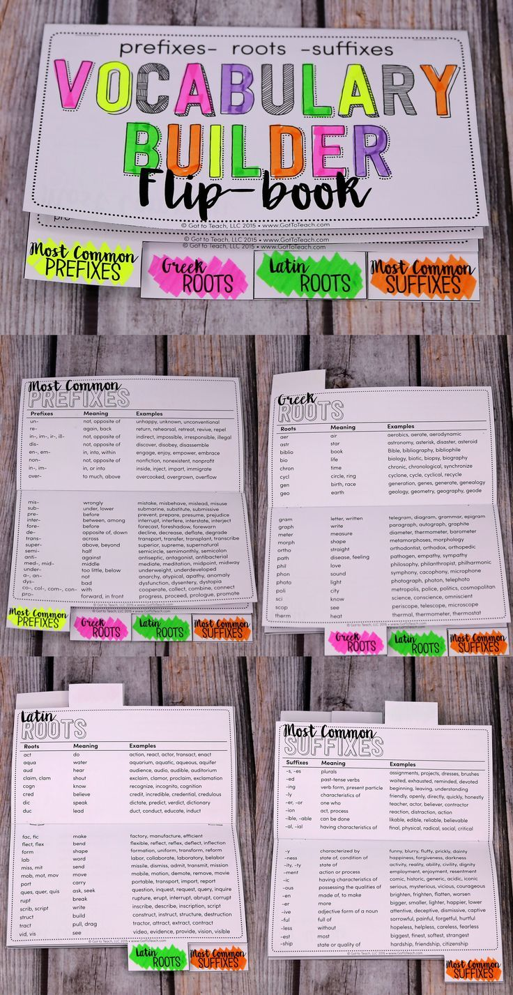 FREE Vocabulary Builder Flip-book! Excellent reference for the most common prefixes, roots, and suffixes!