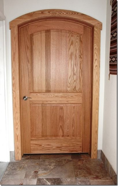 Solid red oak two panel Continental arched top interior door with contemporary red oak casing. & 48 best images about Interior Doors on Pinterest | Shaker style ... Pezcame.Com
