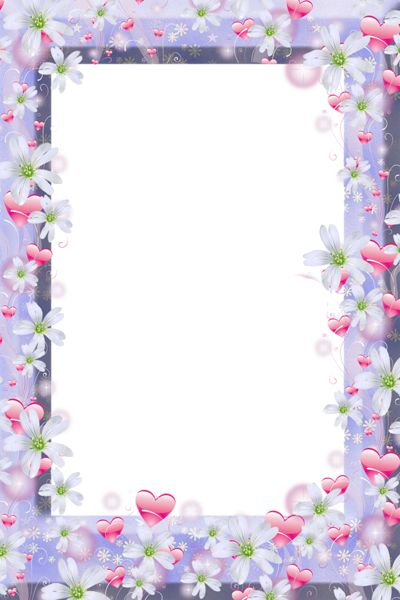 Transparent Violet PNG Frame with Flowers and Hearts.