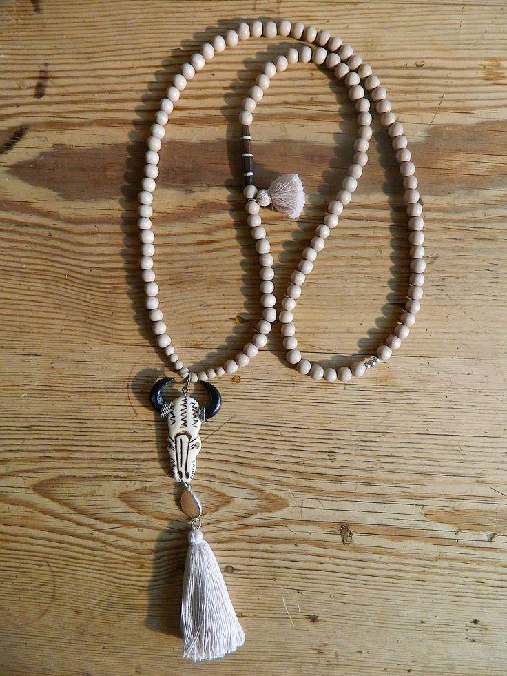 Bijoux De Tête Fait Main : Sautoir perles en bois mm teint?es et cir?es fait main