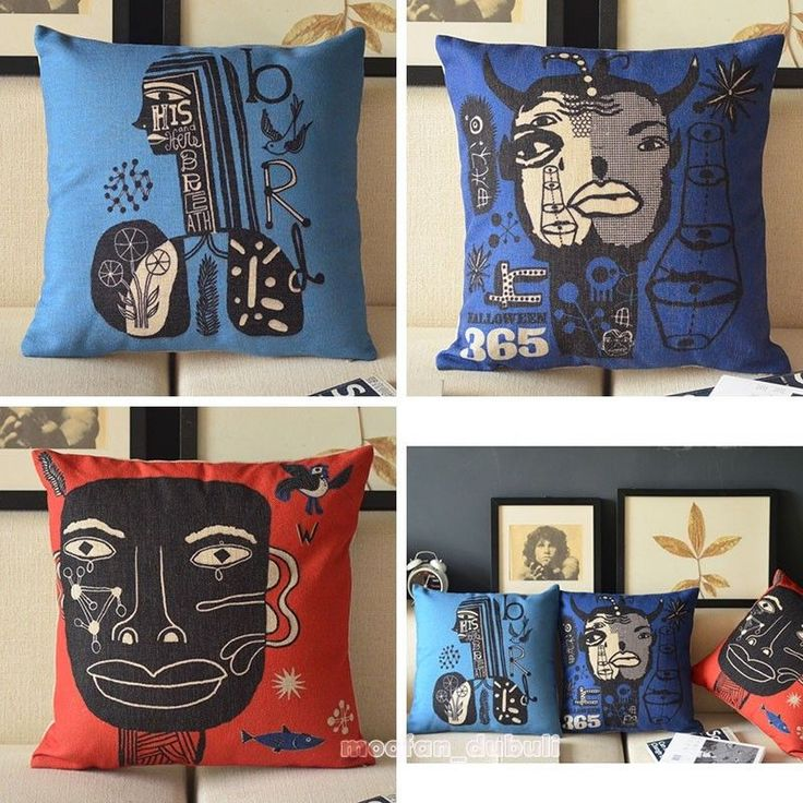 Abstract African Pop Art Deco Retro Cotton Linen Pillow Case Throw Cushion Cover #Unbranded