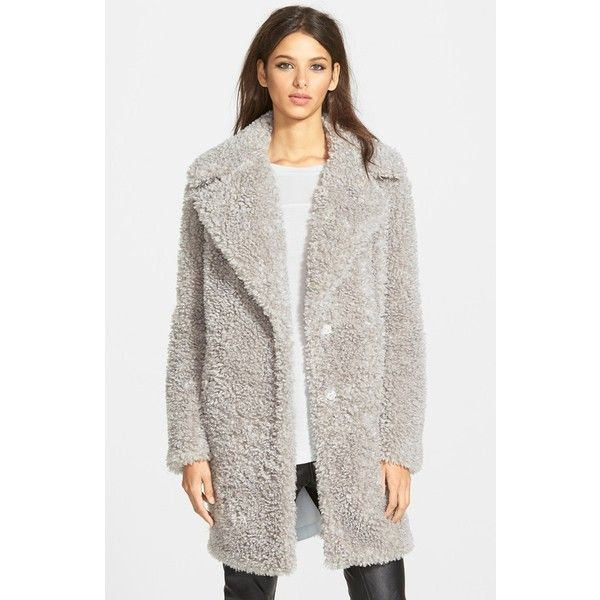 Women's Kensie 'Teddy Bear' Notch Collar Faux Fur Coat ($130) ❤ liked on Polyvore featuring outerwear, coats, grey, grey faux fur coat, gray coat, grey wrap coat, wrap coat and grey coat