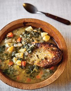 Author Nancy Harmon Jenkins uses olive oil three ways in this version of the venerable Italian soup: for sautéing garlic, rubbing on the toasts that accompany the dish, and finishing the soup. See the recipe »