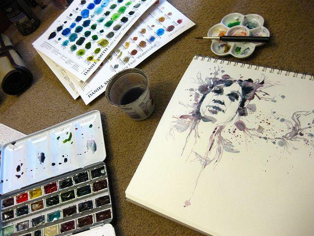 Kremer Watercolor Box, Daniel Smith Watercolors, Aquabee SuperDeluxe Sketchbook, Flower Palette, Da Vinci Travel Brush,  Derwent Pencil Roll