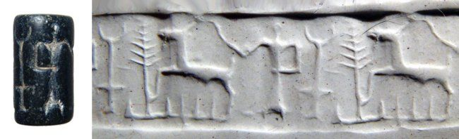 Syrian black steatite cylinder seal, early 2nd millennium B.C. Depicting a standing figure with a moon altar and sacred tree behind, a goat before, 2 cm high. Private collection