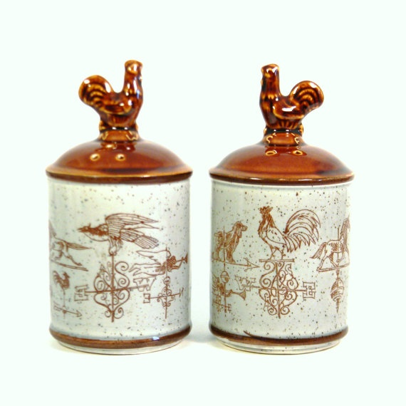 Vintage 1960s Rustic Weather Vane Salt & Pepper Shakers