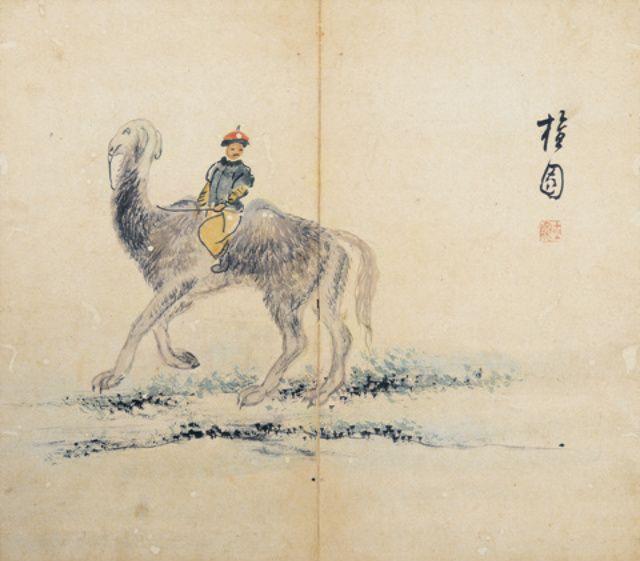 (Korea) 낙타를 탄 몽골인 by Danwon Kim Hong-do. ca 18th century CE. color on paper.
