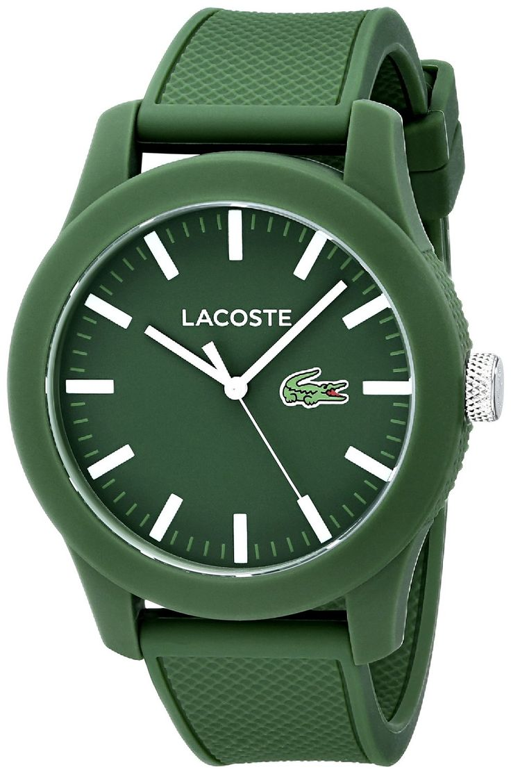 Amazon.com: Lacoste Men's 2010763 Lacoste.12.12 Green Resin Watch with Silicone Band: Lacoste: Watches