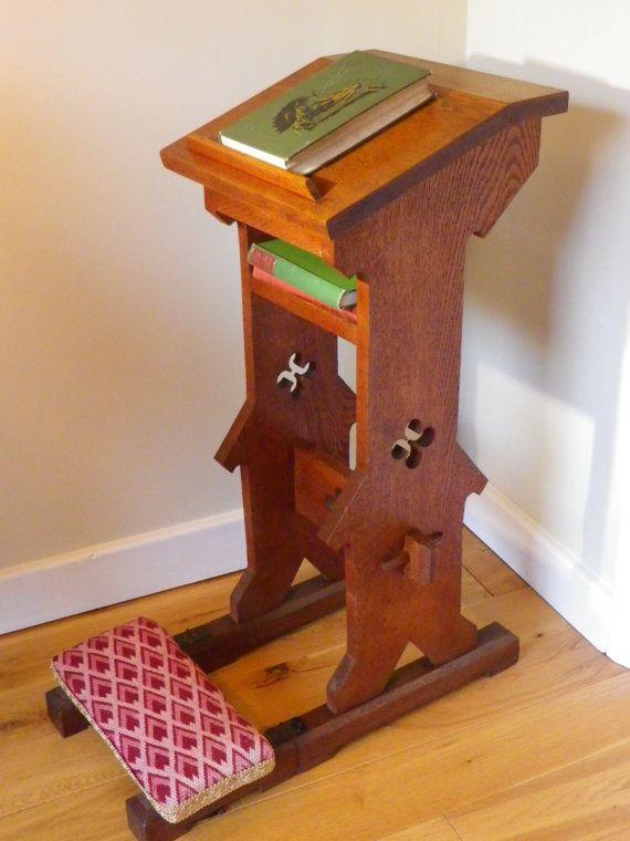 Late Victorian Gothic Revival Oak Prie Dieu or Prayer Kneeler gothic church  church furniture english book stand ipad stand