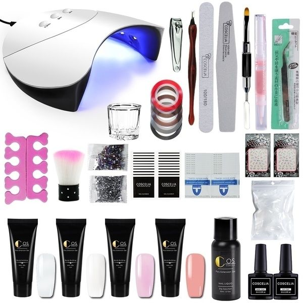 Coscelia 4pcs Nail Builder Gel Poly Gel With 36w Uv Led Lamp Nail Art Kit Wish Gel Nail Kit Nail Extensions Nail Art Kit
