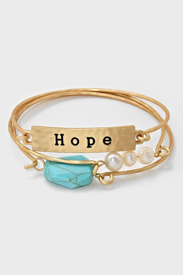 Turquoise Hope Bracelet in Gold