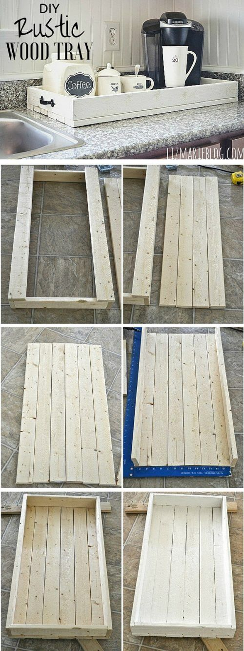 How To Make A Simple Yet Rustic Wood Tray » This DIY rustic wood tray is perfect for a dish dry rack or as a gift for anyone, heck even a wooden planter pot!. Best of all, this wooden tray would look awesome as a serving tray.