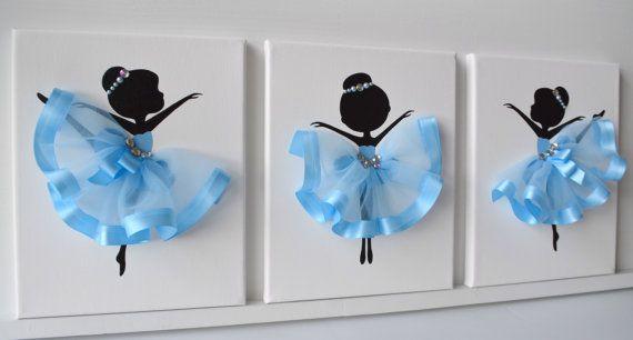 Arte de pared de bailarina. Conjunto de 3 lienzos de bailarina.