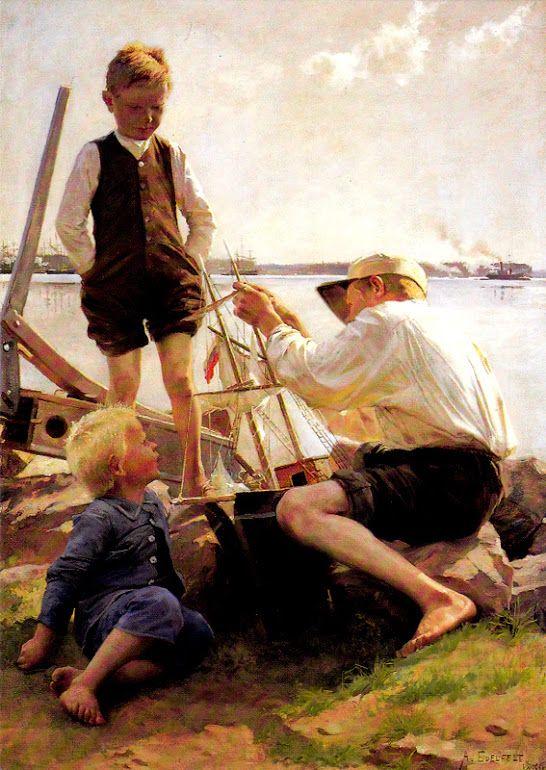 Kuva albumissa ALBERT EDELFELT - Google Kuvat.  AE-12   Laivanrakentajat, 1886, Livingstone.