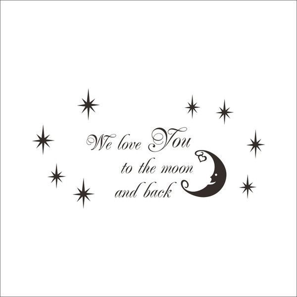 WE LOVE YOU English Motto Black Stars and Crescent Moon PVC Plane ... ($9.61) ❤ liked on Polyvore featuring home, home decor, wall art, text, wall stickers, word wall decals, wall lettering decals, black wall decals, word wall art and star home decor