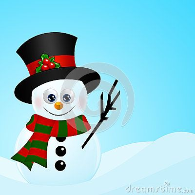Cartoon christmas snowman in snow with place for text