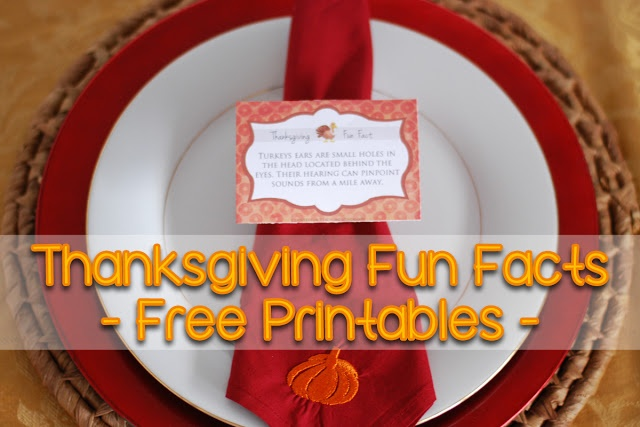 "FREE Thanksgiving Fun Facts PRINTABLES to use for Thanksgiving dinner. Use these in your place settings or anywhere on your table. Your Family will love learning about why Turkey's ""Gobble-Gobble"" and what Pilgrims ate during their first Thanksgiving Dinner with these Thanksgiving Fun Facts."
