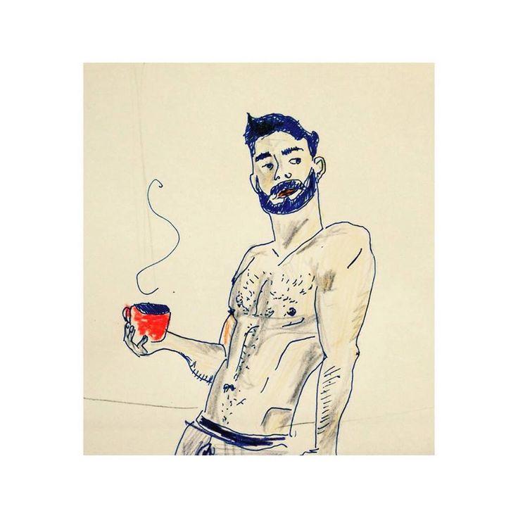 morning drink #boy #coffe #beard #gay #gaybeard  #male #pencil #drawing #rysunek #breakfast #morning #coffe #handsome #men