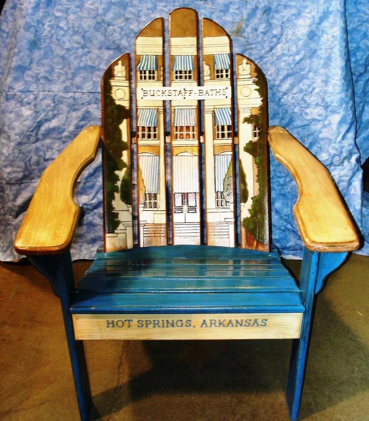 Adirondack Chair With Artwork Featuring Buckstaff Bath House, Hot Springs,  AR