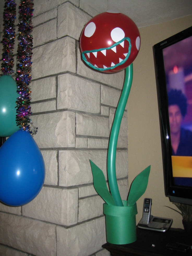 For Super Mario Party Made Piranha Plants Out Of Balloons And Paper So Easy Kid